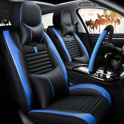 Luxury Pu Leather Car Seat Covers Full Set Front And Rear W/ Steering Wheel Cover