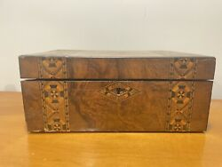 Antique English Writing Desk Box Intricate Exquisite Inlay Mop And Wood