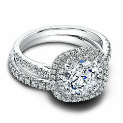 1.10 Ct Real Diamond Engagement Band Sets 14k Solid White Gold Ring Size 5 6.5 7