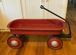 Antique Vintage Red Murray Mercury Childsand039 Metal Pull Wagon Toy - 38
