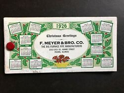 1926 Christmas Celluloid Cover 3 Blotter Calendar Meyer Furnace Pipe Peoria Il