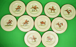 Set Of 10 Abercrombie And Fitch Fox-hunter Hand-painted Dinner Plates