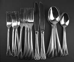 Lot 16 Hampton Silversmiths Hsv39 Stainless Forks Knives Spoons Frosted Satin