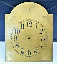Antique Grandfather Clock Part Brass Faceplate With Dial From Old German Clock