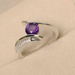 1.35 Ct Round Cut Natural Diamond Amethyst Rings 14k Solid White Gold Size 6 7 8