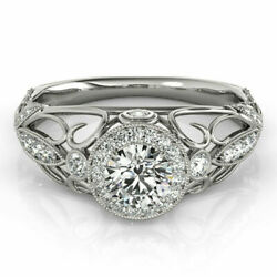 Real Diamond Womenand039s Engagement 950 Platinum Ring Round Cut 1.00 Ct Size 5 6 7 8