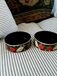 Pair Of Vintage Hand Painted Tin Wine Bottle Coasters