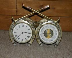 Antique Hunting Fox And Whips Brass Clock And Aneroid Barometer -made In Paris