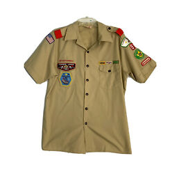 Boy Scouts Vtg 80s S/s Button Down Shirt Cotton Mens Medium Patched 88 Cowikee
