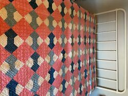 Antique Quilt Calico And Vintage Blues Farmhouse Style Red/pink Colors