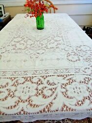 Vintage Ivory Lace Tableclothquaker Style56 X 68 6