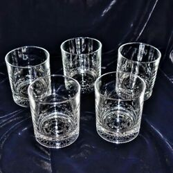 Rare 5-piece Crown Royal Italy Embossed Low Ball Rocks Whiskey Glasses 8 Oz