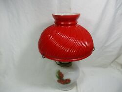 Rare Vintage Aladdin Red Shade Christmas Hand Painted Milk Glass Oil Lamp 21c