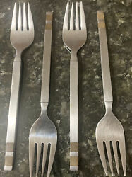 4 Pieces Stanley Roberts Stainless Dinner Salad Forks Wood Stripes Inlay Japan