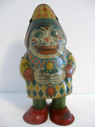 Antique Tin Toy Walking Clown By J. Chein And Co. Made In The Usa Between 1920 And