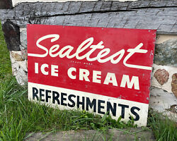 Sealtest Ice Cream Sign Refreshments Parlor Soda General Store Vintage Dairy