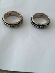 2 Sterling Silver Rings With Spinning Middle Size 9 And 10