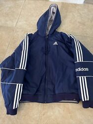 Vintage Adidas Heavy Puffer Jacket Navy/gray Xl 90and039s Striped Reversible