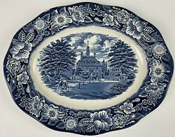 Liberty Blue Oval Serving Platter Governors House Williamsburg 9.5 X 12