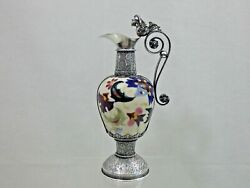 Stunning Antique Sterling Silver And Porcelain Wine / Liquor Small Decanter