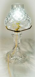 Vintage Waterford Crystal Giftware 2 Piece Electric Hurricane Table Lamp And Shade