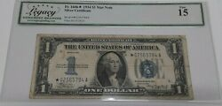 1934 One Dollar 1 Silver Certificate Star Note Fr1606 A Block Legacy F-15
