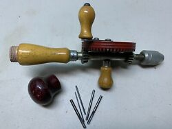 Antique/vintage Egg Beater Wood Handle Hand Crank Drill Tool Metal