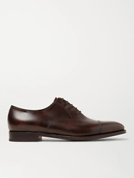 John Lobb Men's City Leather Dark Brown Oxford Loafers Shoes New Us 9 Uk 8