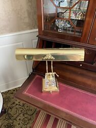 Brass And Crystal Antique Bankers Lamp