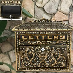 Vintage European Mailbox Cast Iron Wall Mount Locking Letter Box Home With Keys