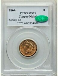 1864 Copper-nickel Pcgs Ms65 Cac Indian Head Cent 1c Gorgeous Bright