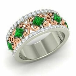 1.40 Carat Real Diamond Green Emerald Band 14k Solid White Gold Size 5.5 6 7 8 9