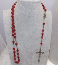 Vintage Sterling Silver Catholic Red Faceted Glass Rosary Beads 20andrdquo Jesus Mary