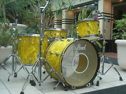 Vintage Pearl 60and039s Drum Set Kit Yellow Satin Flame 22-16-13 + Wood Snare