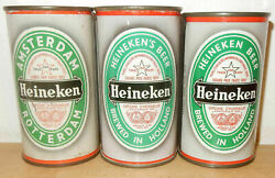 3 Heineken Beer Flat Top Cans From Holland 34cl And 35cl Empty