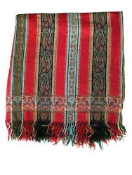 Antique Red Kashmir Paisley Striped Wool Throw Shawl Blanket India Nepal