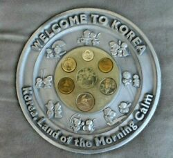 Collectible Pewter Plate W 1996 Coins Welcome To Korea, Land Of The Morning Calm