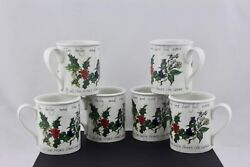 Portmeirion The Holly And The Ivy Set Of 6 Breakfast Mugs – New