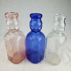 Vintage Brookfield Double Baby Face One Quart Glass Milk Bottles - Lot Color Run