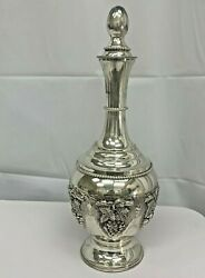 Liqueur Wine Decanter Grape Bunches Detailed In Sterling Silver Judaica