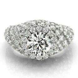 2.10 Ct Natural Diamond Bridal Ring For Womenand039s 14k White Gold Size M N O P M/2