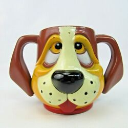 Vintage JSNY Dog Cup 3.25quot; x Plastic Mug Droopy Hound Double Handle