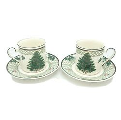 Mikasa Heritage Christmas Story Set Of 2 Cups And Saucers Cab08 Discontinued Euc