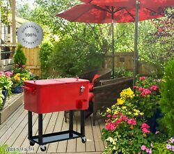 Large Patio Mobile Cooler Rolling Ice Chest Outdoor Party Wheels Cart Handle Red