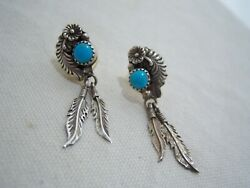 Sterling Silver Turquoise Earrings Feathers Posts Navajo Richard Begay Dangle
