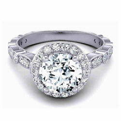 Round 0.90 Carat Real Diamond Engagement Ring 14k Solid White Gold Size 5.5 7 8