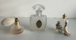 Three Vintage Perfume Bottles, Atomizer, Frosted Colgate And Co., And Tassel