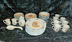 39 Piece Tienshan Stoneware Country Bear Set Dinner Plates Bowls Cups + More