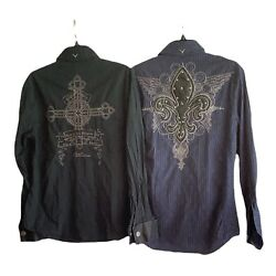 Lot of 2 FENDER sz S ROCK amp; ROLL RELIGION Long Sleeve Embroidered Shirts