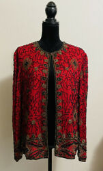 Vintage Papell Boutique Evening Women's Size L Beaded Silk Jacket Red Black $38.00